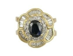GORGEOUS 14K YELLOW GOLD SAPPHIRE AND DIAMOND FLOWER RING
