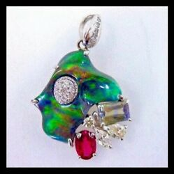 RARE 18k 5+TCW Natural Solid Black Opal Diamond Tourmaline Fish Animal  Pendant