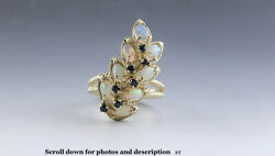 Gorgeous 14k Yellow Gold Opal Sapphire Leaf Flower Ring