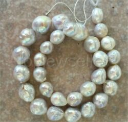 lassic huge 14-15MM natural south sea baroque white pearl necklace 18