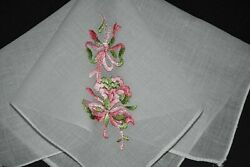 vintage handkerchief HANKY flower embroider SHABBY HOME CHIC ribbon SCENT IT $7.00