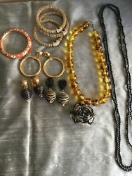 Lot 80s to now costume jewelry pin4 bracelets3 necklaces3 pr earrings