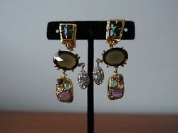 ALEXIS BITTAR SEMI PRECIOUS MULTI STONE CHANDELIER CLIP ON EARRINGS. NEW $69.99