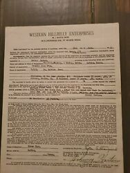 Johnny Horton Country Music Star Signed Contract Auto 1955 Lufkin Texas 11 RARE