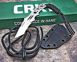 CRKT Crawford Drumfire 8Cr13MoV Fixed Blade Tactical Tanto Neck Knife and Sheath