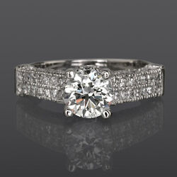 14 KT WHITE GOLD AUTHENTIC 2.37 CT DIAMOND RING ROUND SHAPE VVS2 SIZE 4.5 - 9