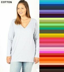 Plus Size Zenana V Neck TShirt Long Sleeve Cotton Spandex Top XL 1X 2X 3X $12.95