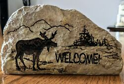 Moose Welcome Rustic Faux Stone Carved Log Cabin Lodge Home Decor 8