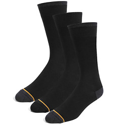 NEW GOLDTOE Signature GOLD Men's Socks 3 PAIR Shoe Size 6 12 1 2 Black