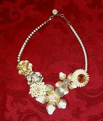 Jessica Simpson Goldtone GLAM GARDEN Faux Pearl Accent Flowers Necklace
