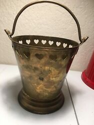 """Vintage Brass Metal Bucket with Handle Copper Pail Heart decorations 5.4""""high $29.99"""