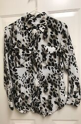 Equipment Femme Signature Silk Abstract Animal Print Blouse SZ XS ~ Pristine