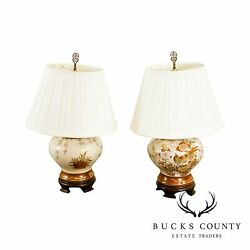 Ethan Allen Asian Style Ginger Jar Pottery Pair Table Lamps $595.00