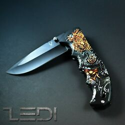 Folding Pocket Knife Open Spring Assisted Blade Military Tactical Engrave Handle