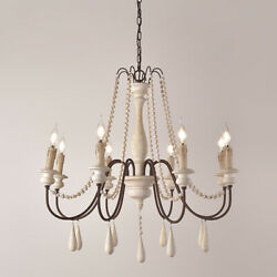 Vintage 8-Light Wood Bead Wooden Chandelier White Ceiling Lighting Living Room $246.99