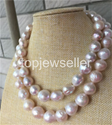 gorgeous 14-15MM SOUTH SEA BAROQUE LIGHT PINK PEARL NECKLACE 38INCH 14K