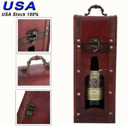 Wooden Wine Vintage Single Red Wine Storage Box Package Gift Box W Handle