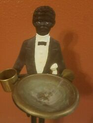 Vintage Rare Antique Iron African American Black Butler Tobacco Smoking Stand