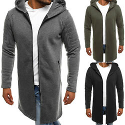 Men Hooded Cardigan Casual Sweater Slim Long Sleeves Trench Coat Jacket Outwear