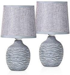 Set of 2 BRUBAKER Table or Bedside Lamps Gray Ceramic Base 10.6 Inches $36.97