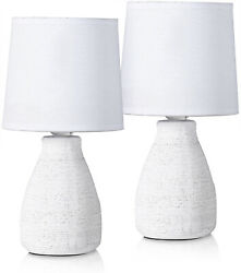 Set of 2 BRUBAKER Table or Bedside Lamps White Ceramic Base 11 Inches $36.97