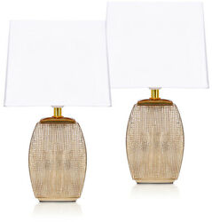 Set of 2 BRUBAKER Table or Bedside Lamps Gold White Ceramic Base 15quot; $39.97