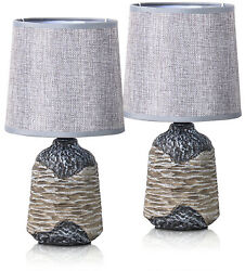 Set of 2 BRUBAKER Table or Bedside Lamps Gray Dark Gray w Ceramic Base 10.8quot; $27.99