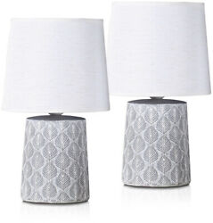 Set of 2 BRUBAKER Table or Bedside Lamps White Ceramic Base 13 Inches $39.97