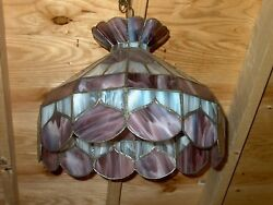 VINTAGE SLAG GLASS HANGING SHADE APPROX. 16quot; WIDE 15quot; HIGH PICK UP NATICK MA. $35.00