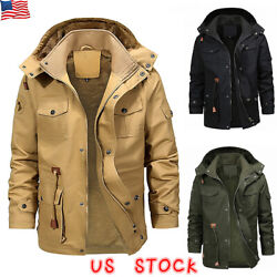 Mens Winter Thick Fur Lined Hooded Jacket Zipper Warm Casual Military Parka Coat $55.99