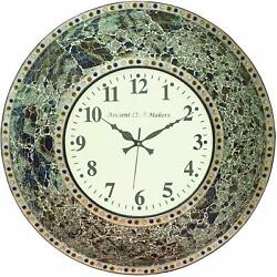 rare Iron Mosaic White Dial Multicolor Stone Round Wall Clock for Home