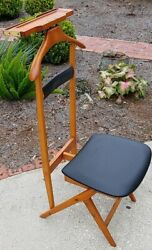 Vintage Fratelli Reguitti FR Italy Suit Rack Stand Valet Butler Wood Chair