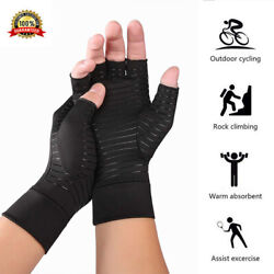 1Pair New Copper Arthritis Compression Gloves Hand Support Joint Pain Relief