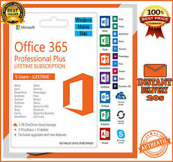 Microsoft Office 365 20162019 Pro Plus 5 Device PCMAC🔥Not Key🔥10s Delivery