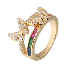 Colorful Zircon Female Butterfly Ring Fashion Creative Charm Jewelry Size 6-9