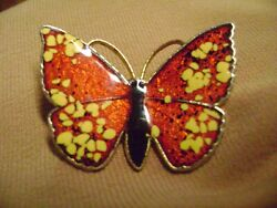 VINTAGE RED YELLOW FLOWERS BUTTERFLY ENAMEL GOLD TONE BROOCH