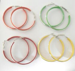 Big Hoop Earrings with Silver Trim - Pierced or Clip-on - 4 Colours