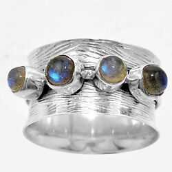 Matte Finish - Blue Labradorite 925 Sterling Silver Ring Jewelry s.8 SDR51009