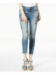 LUCKY BRAND $99 Womens New 1304 Blue Embroidered Skinny Cropped Jeans 10 B+B