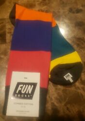 Men#x27;s Fun Socks Rainbow Large Stripe Crew Socks Size 10 13 Ch Fus Pl Or Tl Ylw $9.99