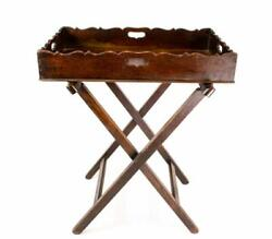 💯 18C Mahogany Butlers Tray & Stand Large Georgian Antique English Coffee Table