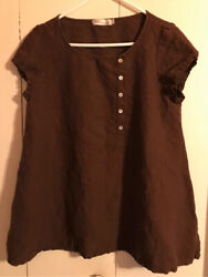 Cut Loose Brown Linen Short Sleeve Tunic Size Small