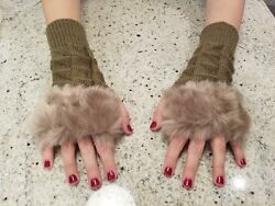 Pair of Women#x27;s Fingerless Gloves with Soft Imitation Rabbit Fur Free Shipping $4.95