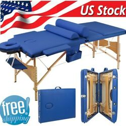 Portable Folding Massage Wooden Table Facial SPA wCarry Case Beauty Equipment