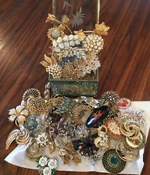 VINTAGE JEWELRY BROOCH PIN LOT Sparkling Rhinestones Gorgeous Some Signed