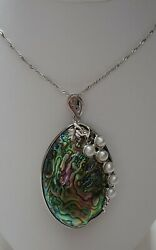 V3 Designs Sterling Silver Abalone and Pearl Pendant Necklace