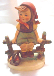 Just Resting Hummel Little Girl Sitting On the Fence with Basket of Fruit $44.89