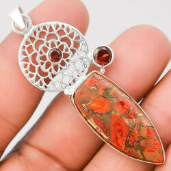 Copper Red Turquoise and Garnet 925 Sterling Silver Pendant Jewelry SDP24833