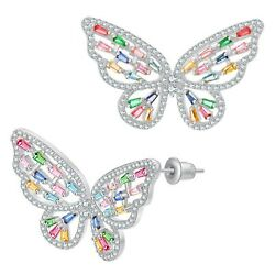 UMODE 18K White Gold Plated Colorful CZ Butterfly Earrings Bridesmaid Cubic Z...