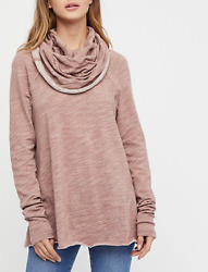 FREE PEOPLE BEACH HEATHER ROSE LONG SLEEVE COCOON COWL NECK PULLOVER Sz ML